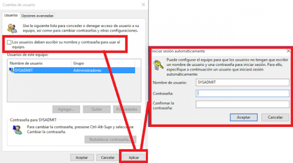 Windows configurar autologin sysadmit for Configurar cocina online
